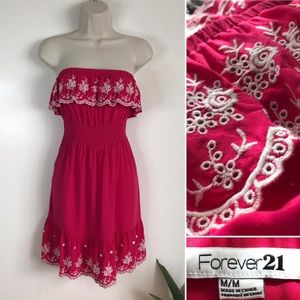 FOREVER 21 Embroidered Strapless PINK Ruffle Dress